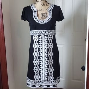 INC Black Embroidered  Southwest Inspired Dress Lg